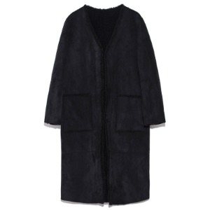 reversible fake mustang coat(black)